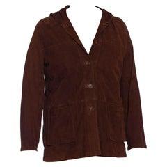 1990S Cigar Brown Suede Men's Hoodie Jacket
