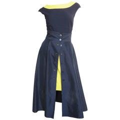 1990s Claude Montana Full Skirt, Pencil Skirt and Bodysuit Set