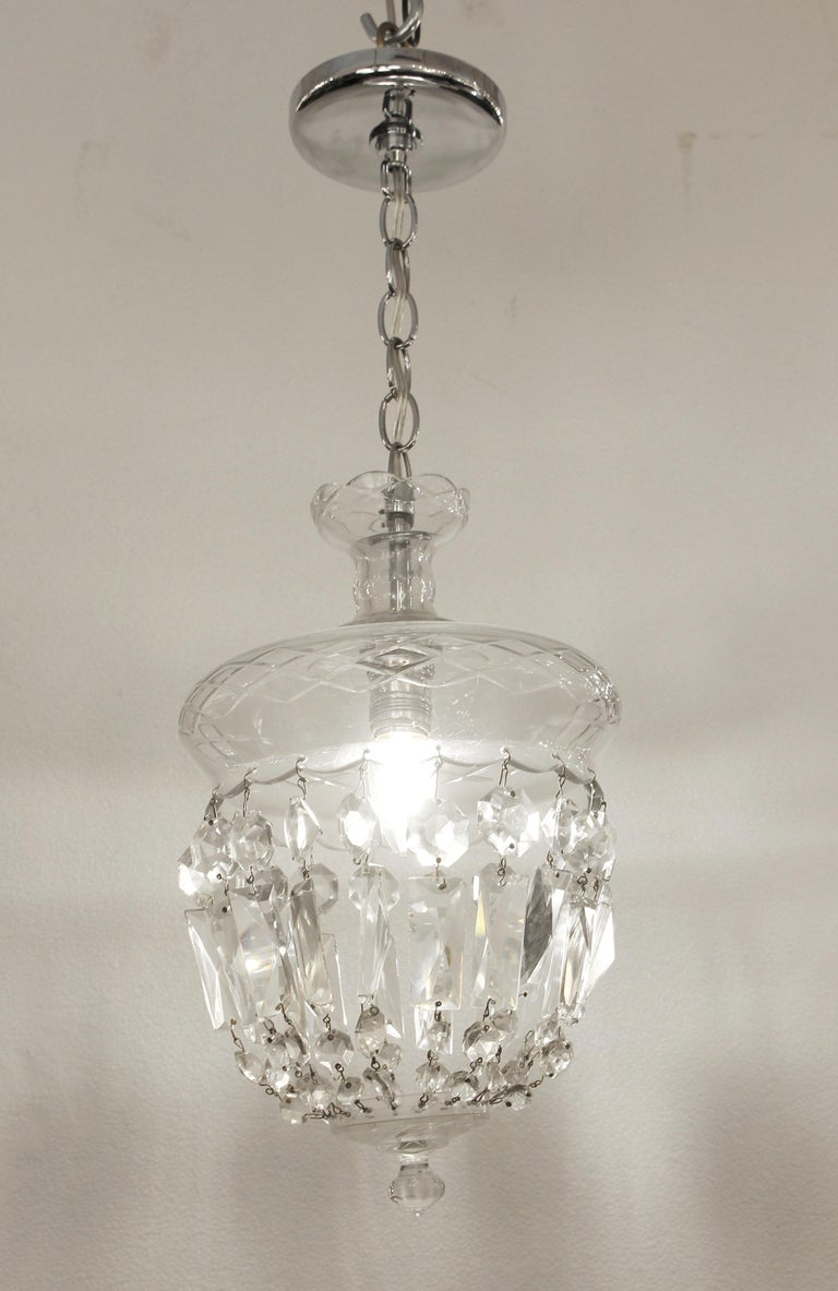 American 1990s Clear Glass Bell Jar Style Down Pendant Light For Sale