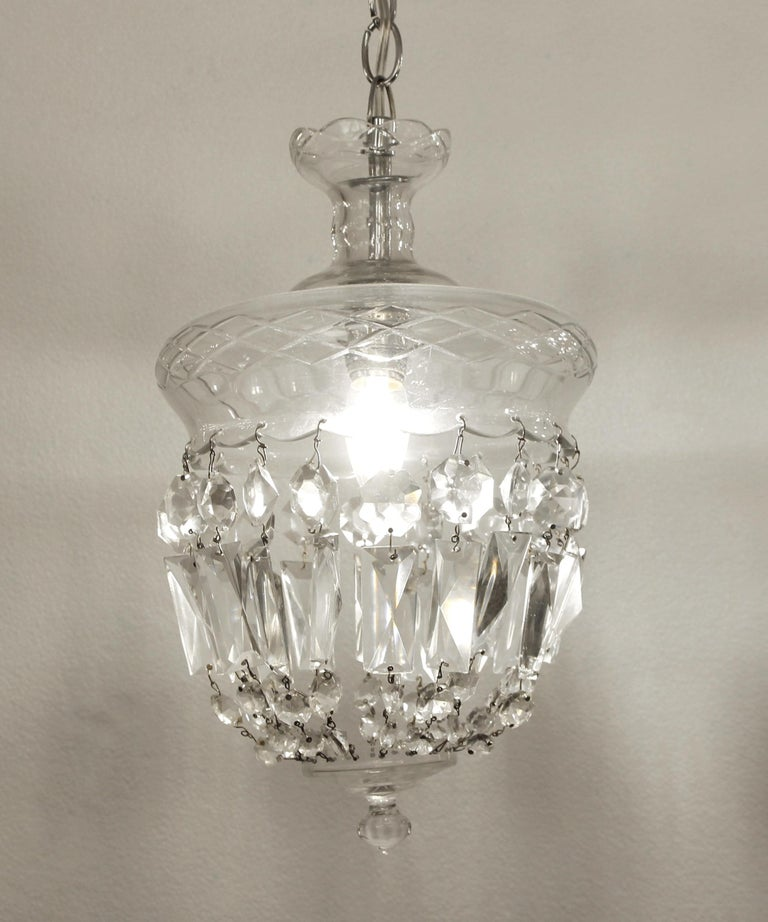 Late 20th Century 1990s Clear Glass Bell Jar Style Down Pendant Light For Sale
