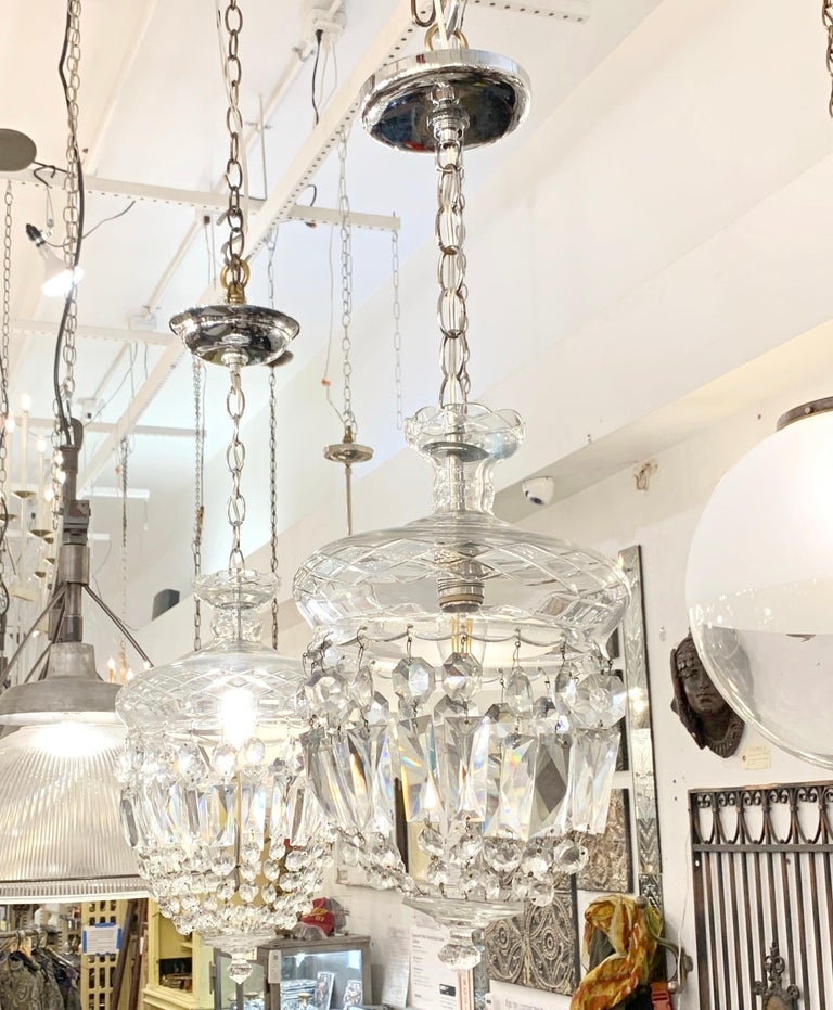 1990s Clear Glass Bell Jar Style Down Pendant Light For Sale 1