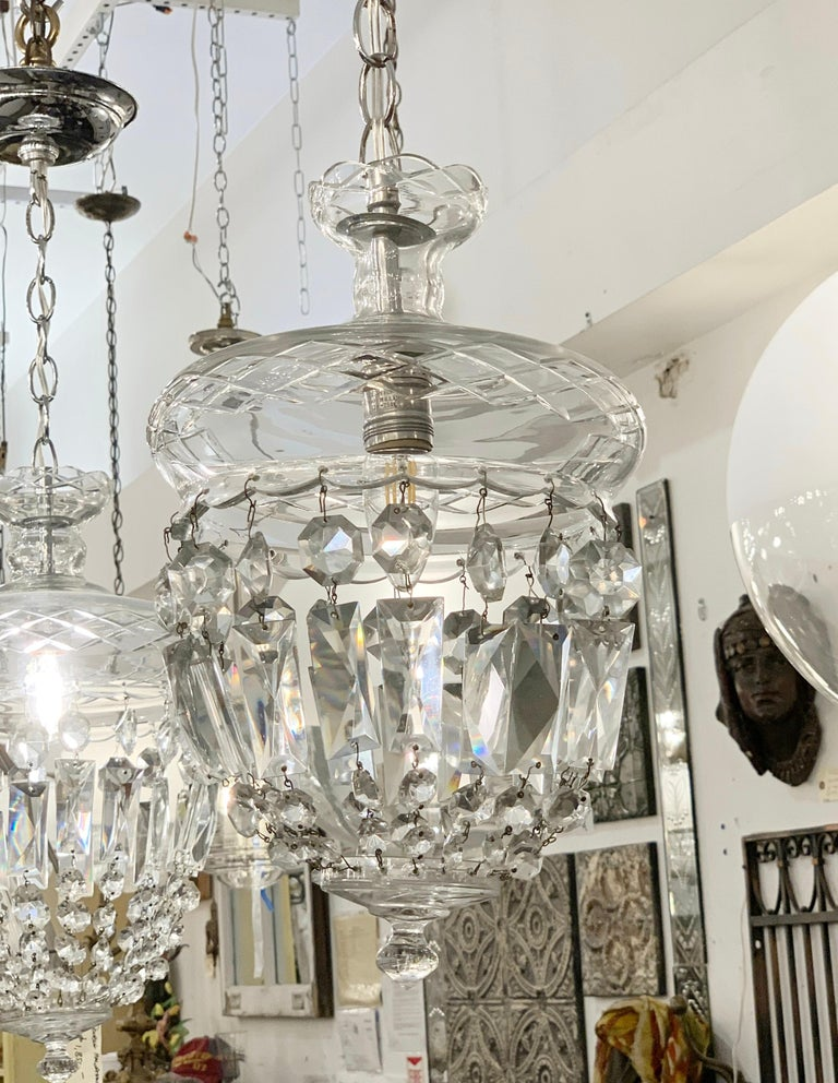 1990s Clear Glass Bell Jar Style Down Pendant Light For Sale 2