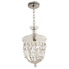 1990s Clear Glass Bell Jar Style Down Pendant Light