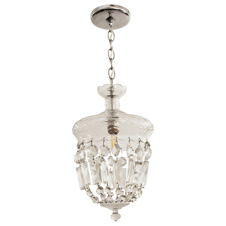 1990s Clear Glass Bell Jar Style Down Pendant Light For Sale