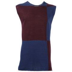 1990s Comme Des Garçons Blue And Purple Wool Blend Top