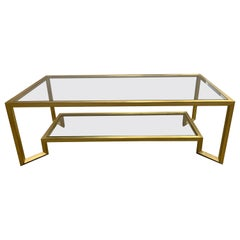 1990s Contemporary Gold and Glass Two-Tier Coffee Table