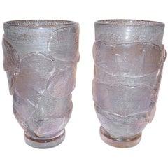 1990s Costantini Italian Pair of Silver Gray Pink Murano Alexandrite Glass Vases