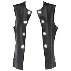 1990s Costume National Black Leather Vest