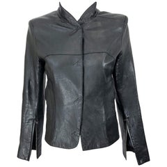 1990s CoSTUME NATIONAL Black Leather Vintage Zipper Sleeves 90s Moto Jacket