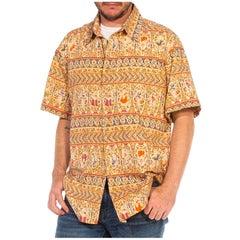 1990S Cotton Men's Tropical Pin-Up Girl Shirt