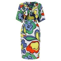 1990s Cotton Pop Art Print Thierry Mugler Dress