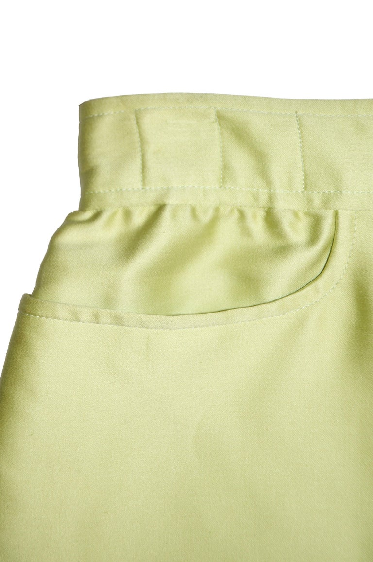 Yellow 1990s Courreges Green Mod Mini Skirt with White Accent Zipper For Sale
