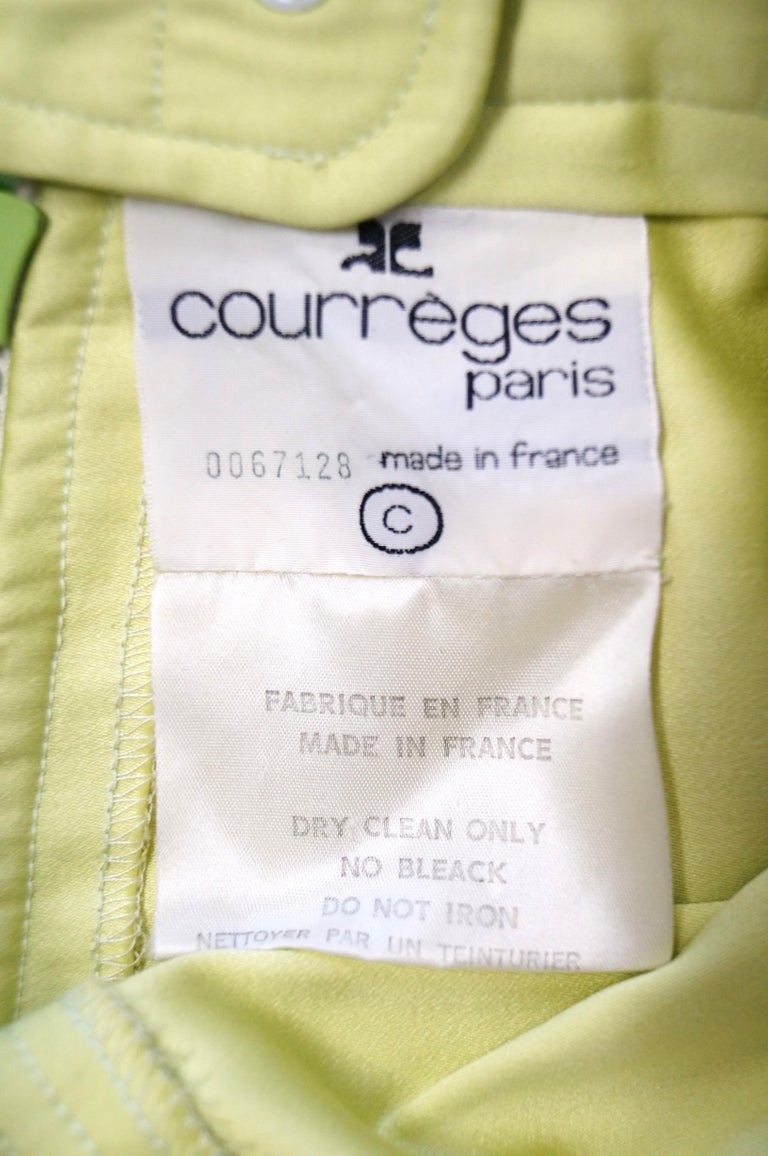 1990s Courreges Green Mod Mini Skirt with White Accent Zipper For Sale 1