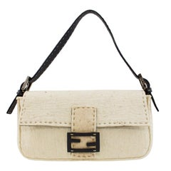 1990s Cream Fendi Felted Wool and Brown Leather Baguette Bag
