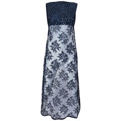 1990s Crop Top with Sequin Black Lace Long Sheer Overlay Vintage 90s Vest Dress