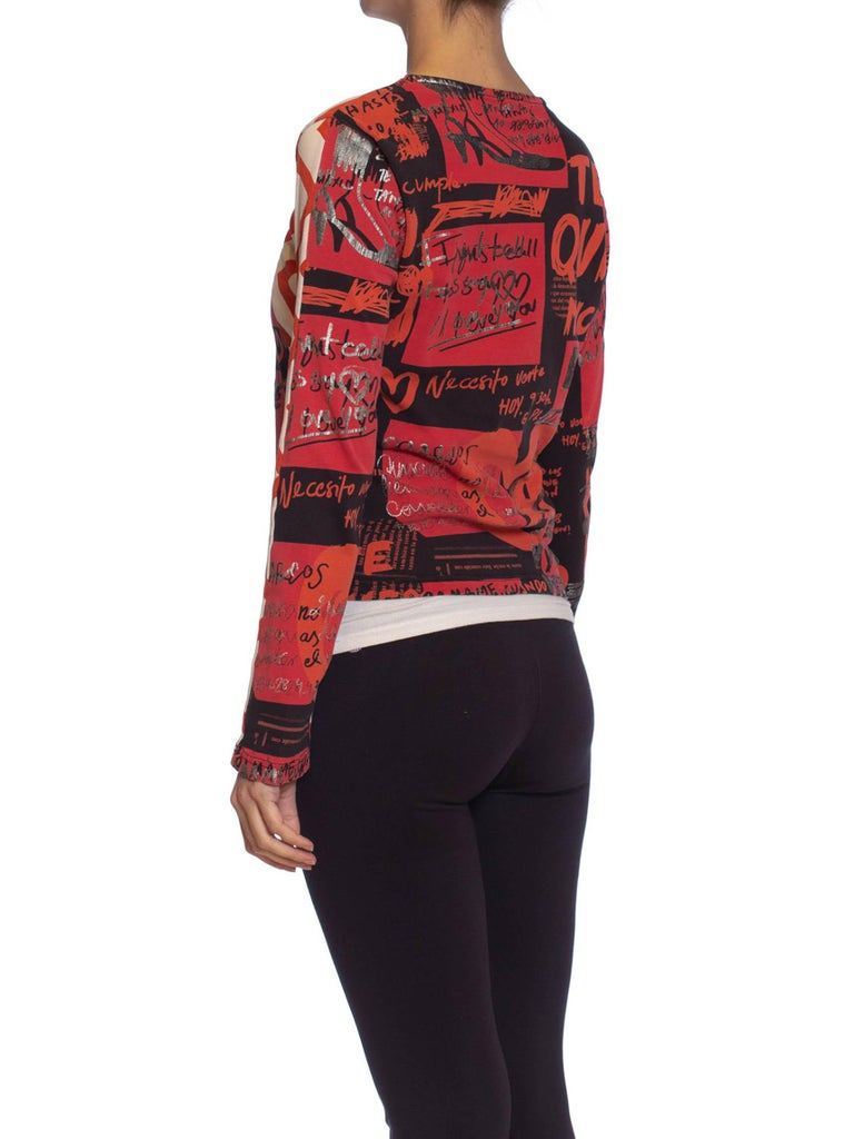 1990S CUSTO BARCELONA Black & Red Cotton Jersey Long Sleeve T-Shirt For Sale 2