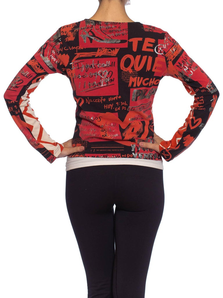 1990S CUSTO BARCELONA Black & Red Cotton Jersey Long Sleeve T-Shirt For Sale 4
