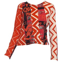 1990S CUSTO BARCELONA Black & Red Cotton Jersey Long Sleeve T-Shirt