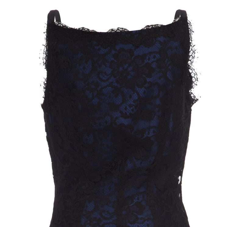Women's 1990s David Fielden Couture Black Lace Dress with Blue Underlay