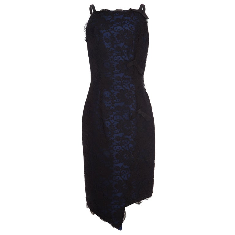 1990s David Fielden Couture Black Lace Dress with Blue Underlay