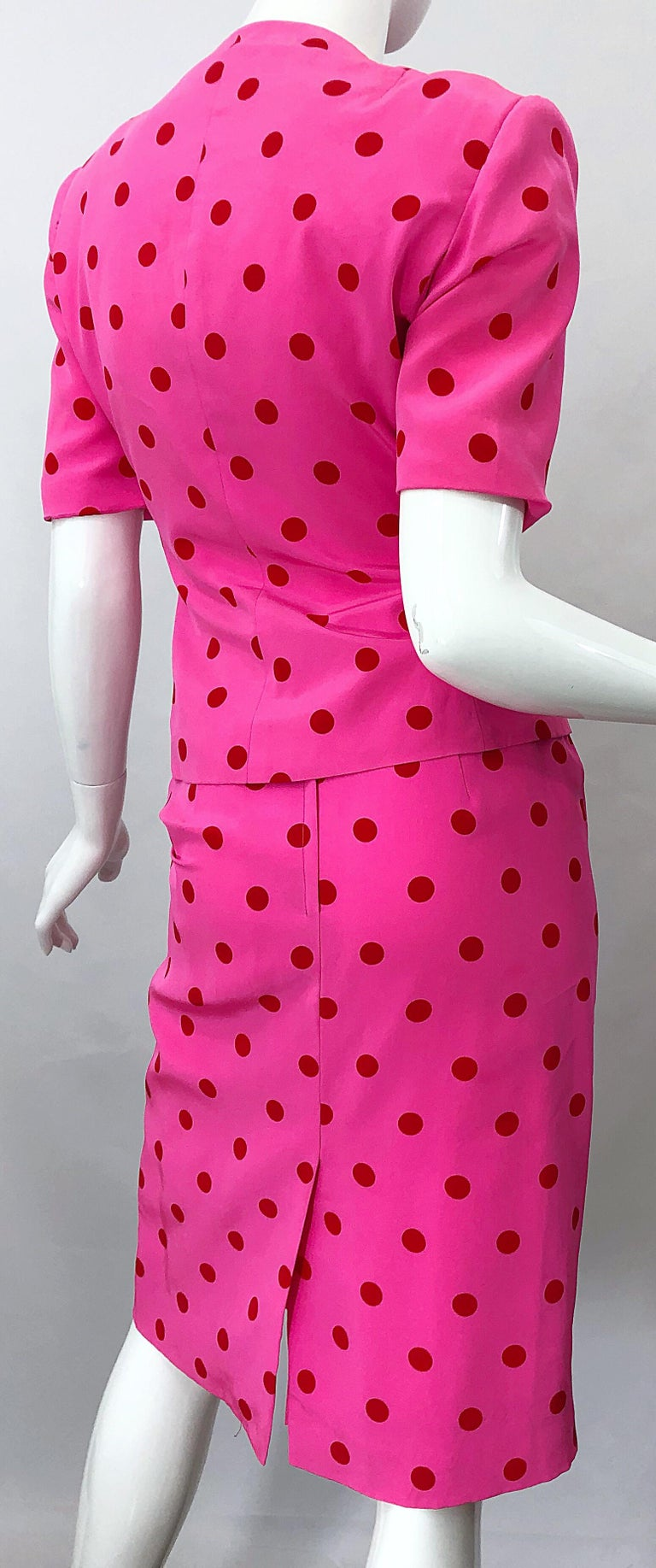 1990s David Hayes for Saks 5th Avenue Hot Pink Red Polka Dot Vintage Skirt Suit For Sale 6