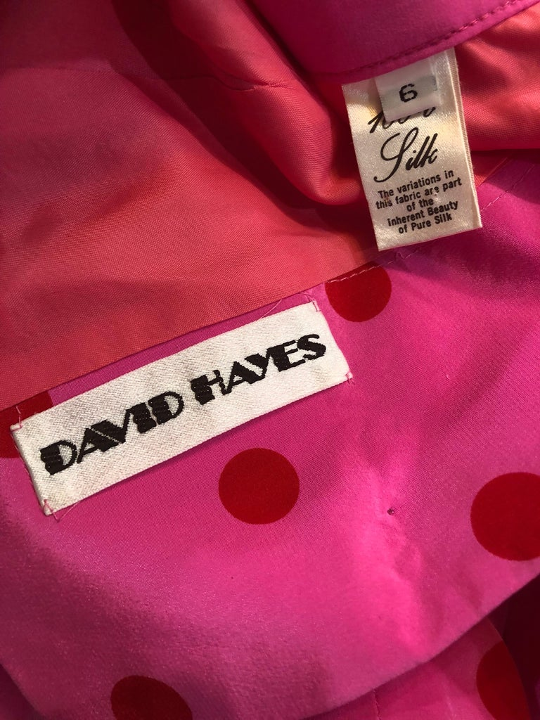 1990s David Hayes for Saks 5th Avenue Hot Pink Red Polka Dot Vintage Skirt Suit For Sale 11