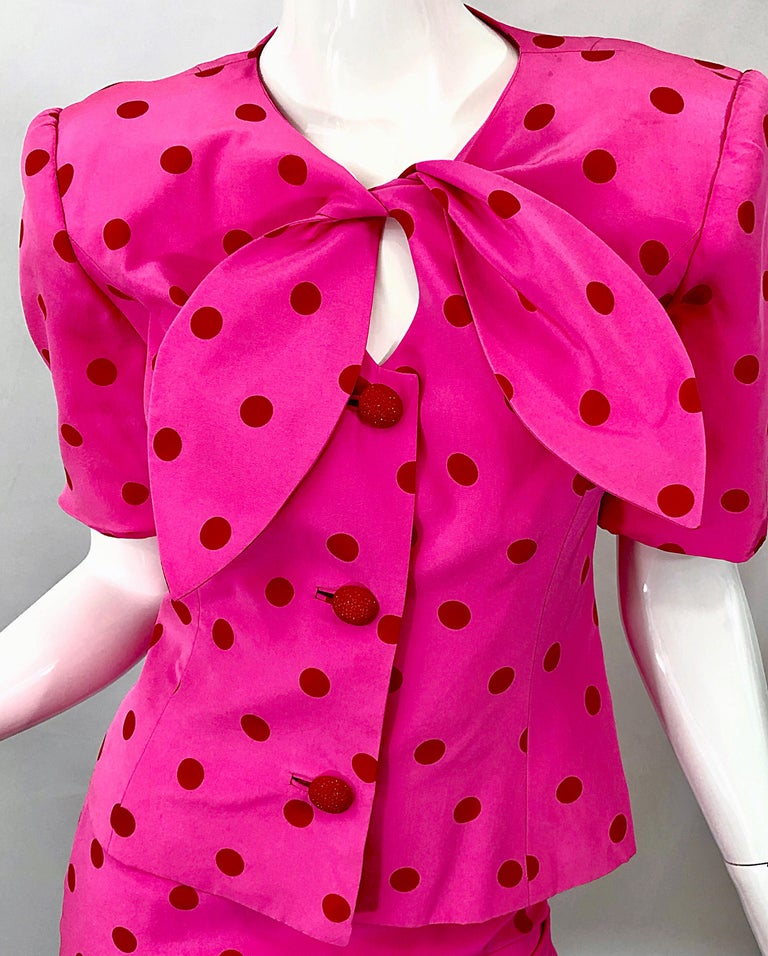 Women's 1990s David Hayes for Saks 5th Avenue Hot Pink Red Polka Dot Vintage Skirt Suit For Sale