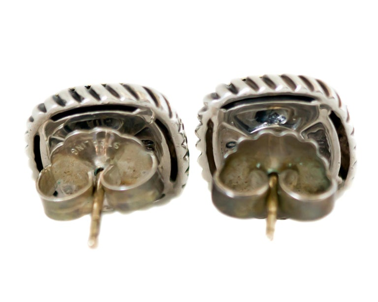 Contemporary 1990s David Yurman Diamond Cable Stud Earrings For Sale