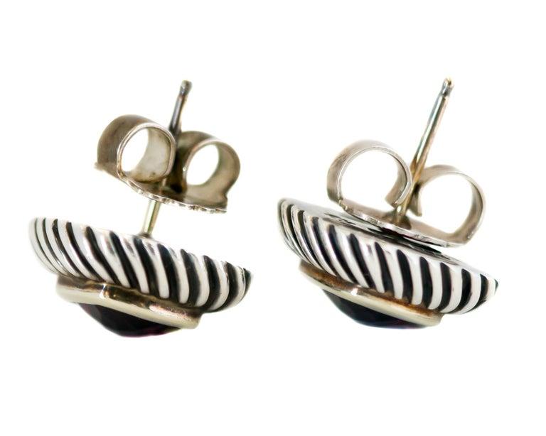 Cushion Cut 1990s David Yurman Garnet Cable Stud Earrings For Sale