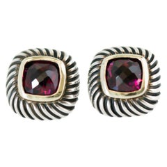 1990s David Yurman Garnet Cable Stud Earrings