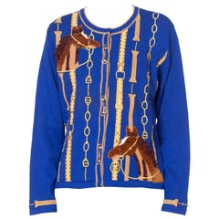 1990'S Sapphire Blue  Deadstock Sweater Cardigan With Equestrian Embroidery & T