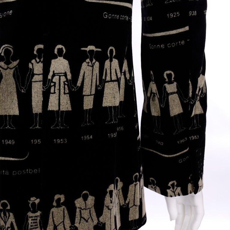 1990s Deadstock Vintage Moschino Fashion HIstory Print Black Velvet Blazer For Sale 8