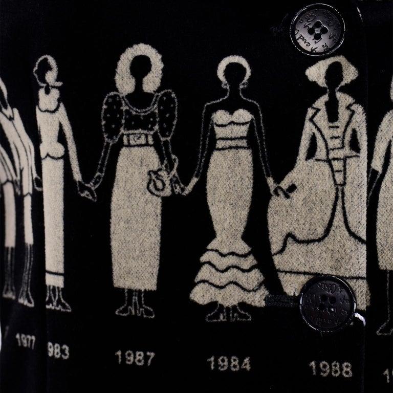 1990s Deadstock Vintage Moschino Fashion HIstory Print Black Velvet Blazer For Sale 9