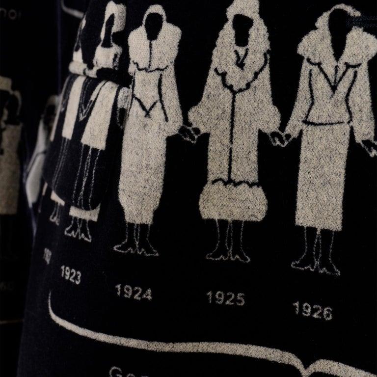 1990s Deadstock Vintage Moschino Fashion HIstory Print Black Velvet Blazer For Sale 11