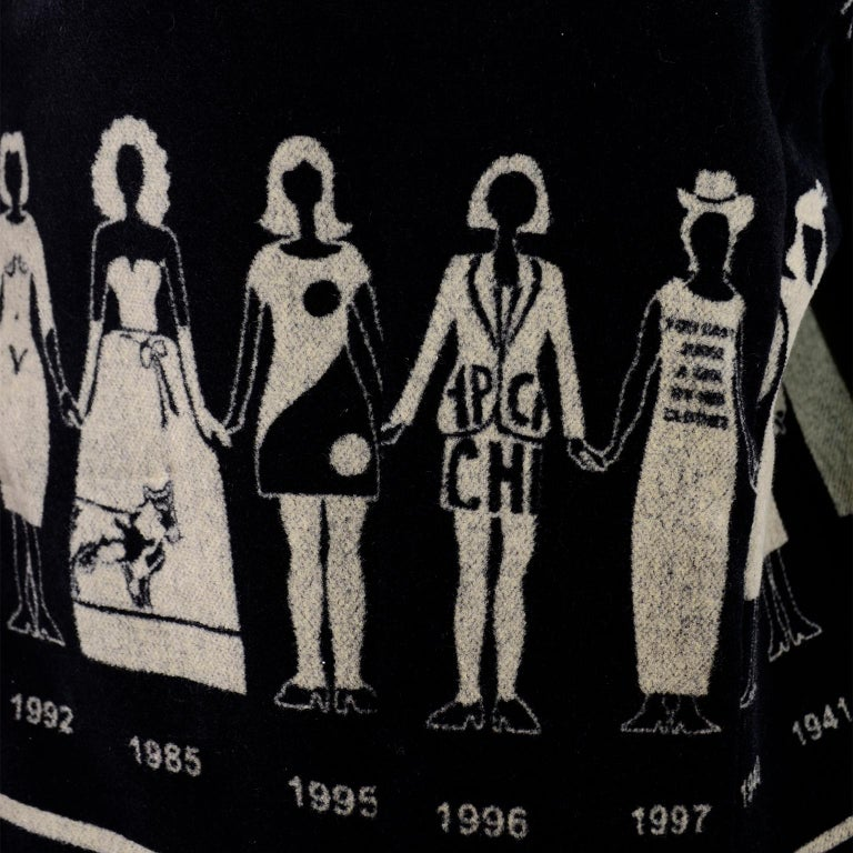1990s Deadstock Vintage Moschino Fashion HIstory Print Black Velvet Blazer For Sale 12