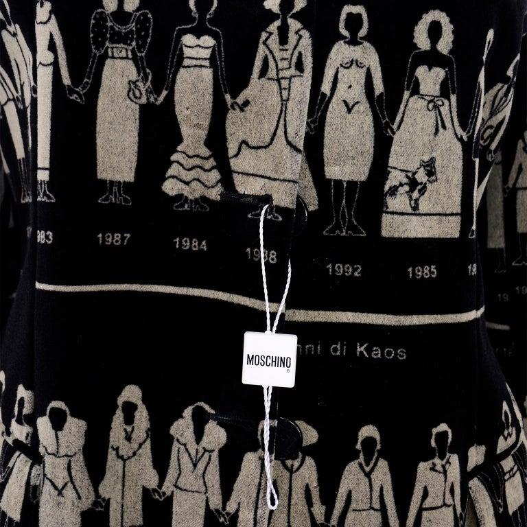 1990s Deadstock Vintage Moschino Fashion HIstory Print Black Velvet Blazer For Sale 13