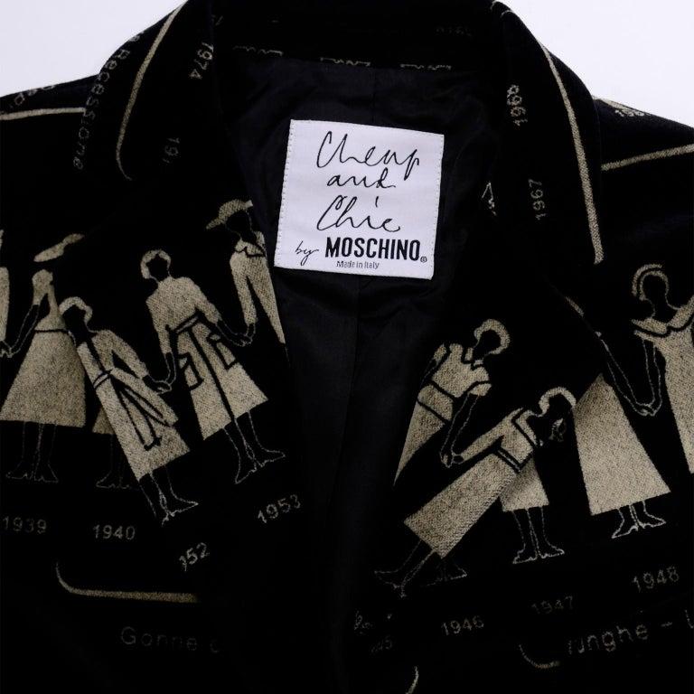 1990s Deadstock Vintage Moschino Fashion HIstory Print Black Velvet Blazer For Sale 14