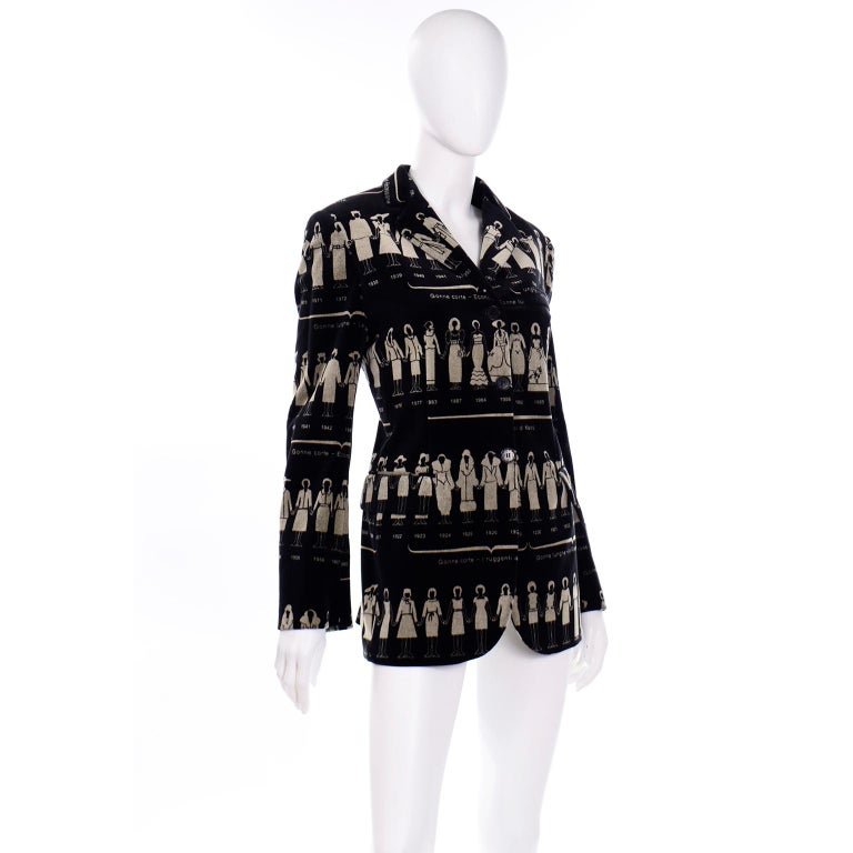 1990s Deadstock Vintage Moschino Fashion HIstory Print Black Velvet Blazer In New Condition For Sale In Portland, OR