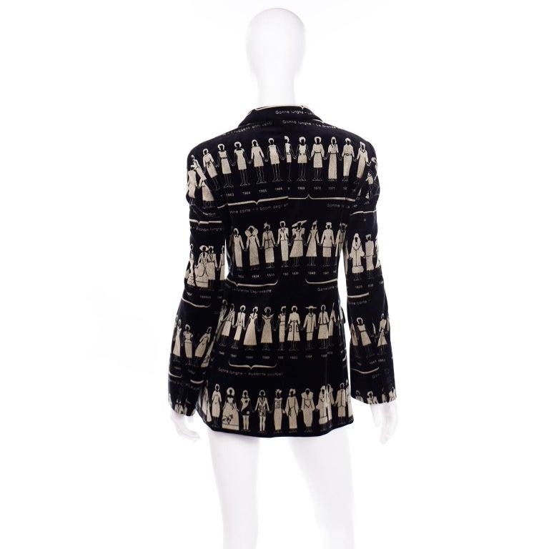 Women's 1990s Deadstock Vintage Moschino Fashion HIstory Print Black Velvet Blazer For Sale