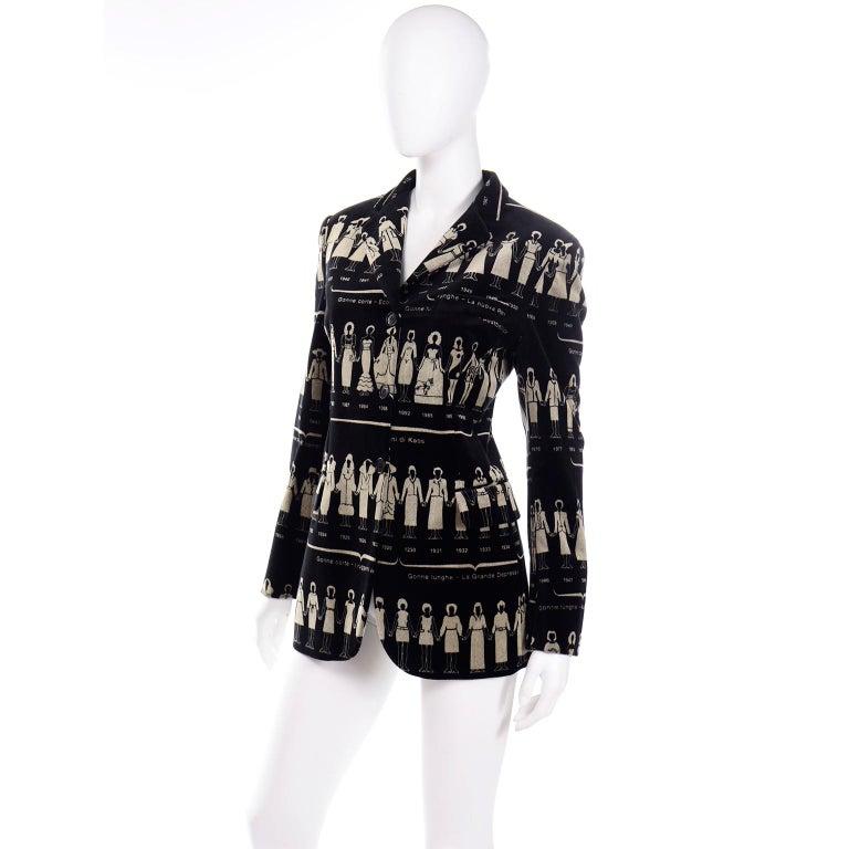 1990s Deadstock Vintage Moschino Fashion HIstory Print Black Velvet Blazer For Sale 1