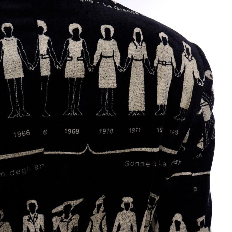 1990s Deadstock Vintage Moschino Fashion HIstory Print Black Velvet Blazer For Sale 4