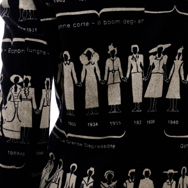 1990s Deadstock Vintage Moschino Fashion HIstory Print Black Velvet Blazer For Sale 5