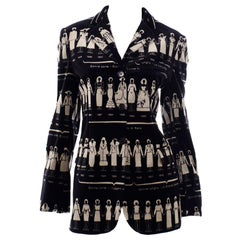 1990s Deadstock Vintage Moschino Fashion HIstory Print Black Velvet Blazer