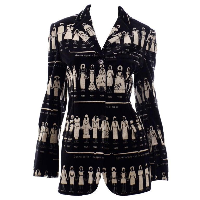 1990s Deadstock Vintage Moschino Fashion HIstory Print Black Velvet Blazer For Sale