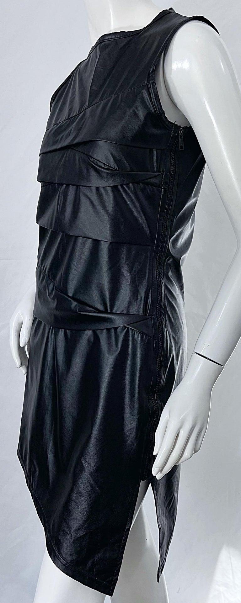 1990s Dexter Wong Club Kid Rave Japanese Black Pleather Vintage 90s Mini Dress For Sale 6