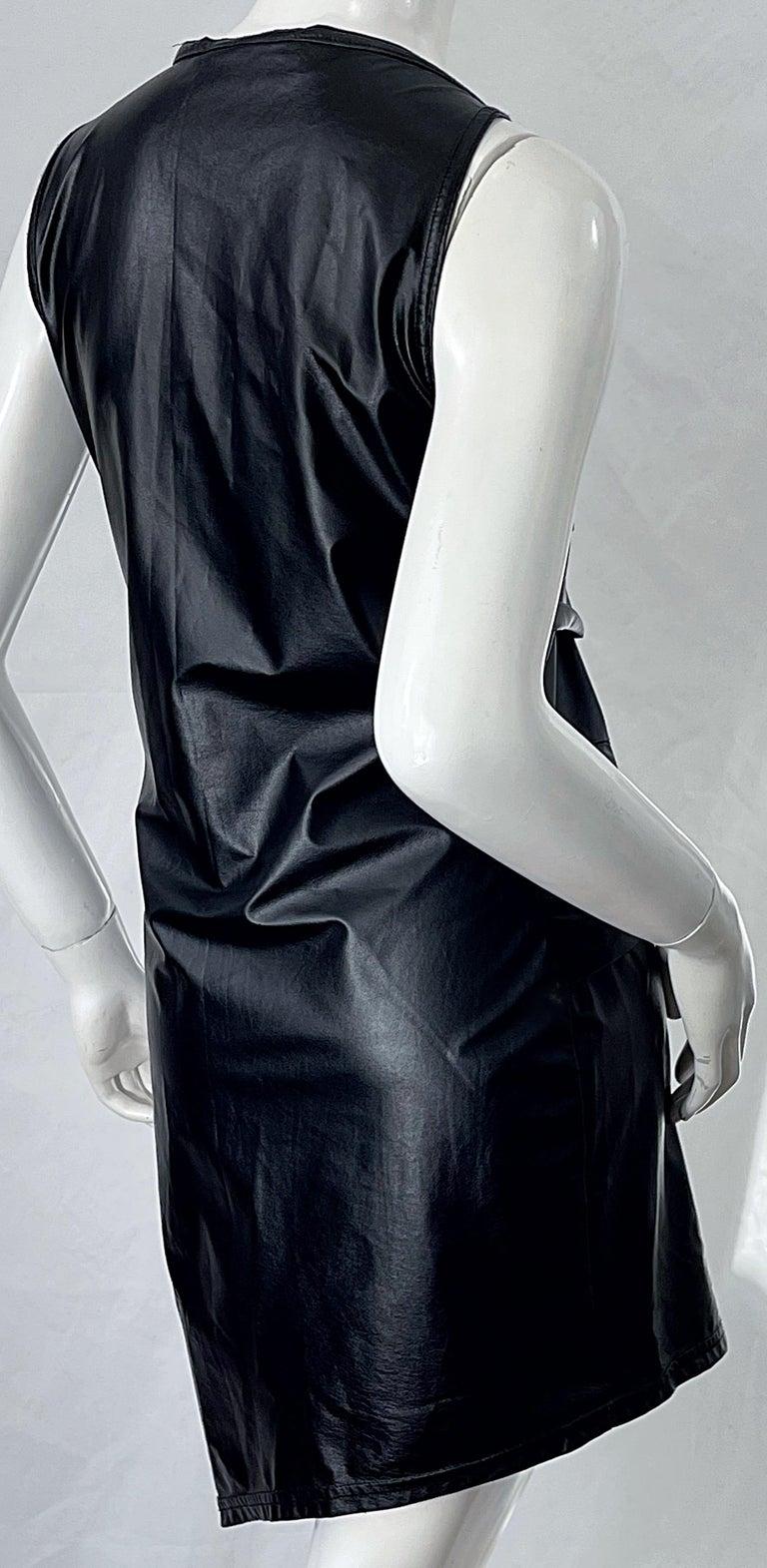 1990s Dexter Wong Club Kid Rave Japanese Black Pleather Vintage 90s Mini Dress For Sale 7