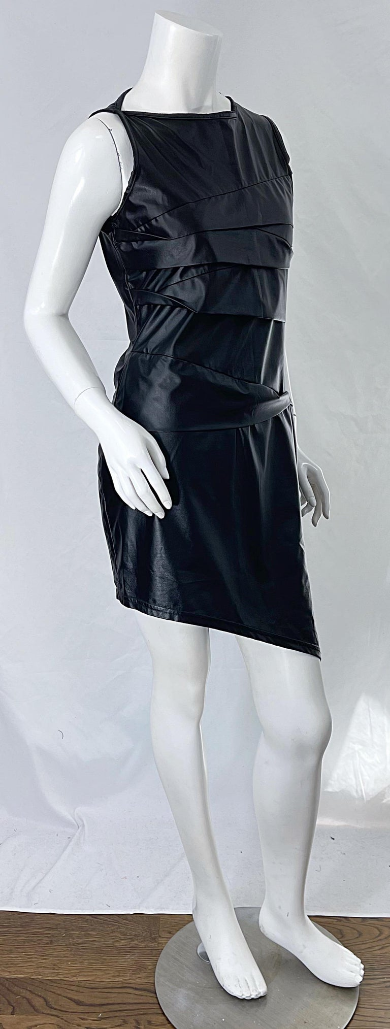1990s Dexter Wong Club Kid Rave Japanese Black Pleather Vintage 90s Mini Dress For Sale 8