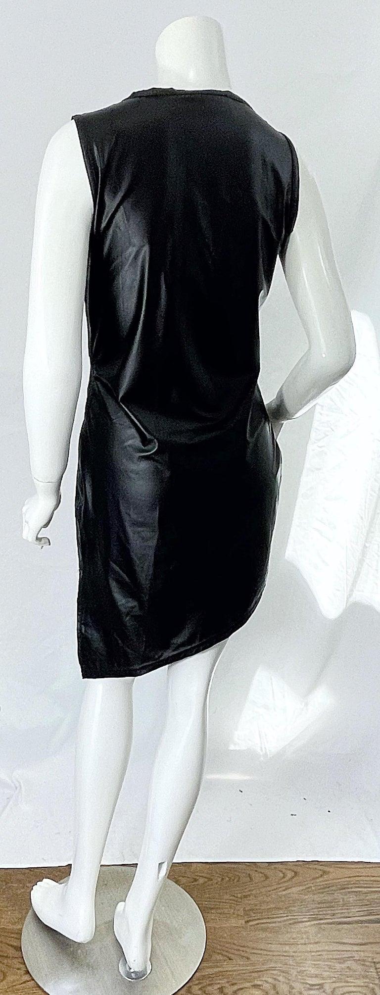 1990s Dexter Wong Club Kid Rave Japanese Black Pleather Vintage 90s Mini Dress For Sale 9