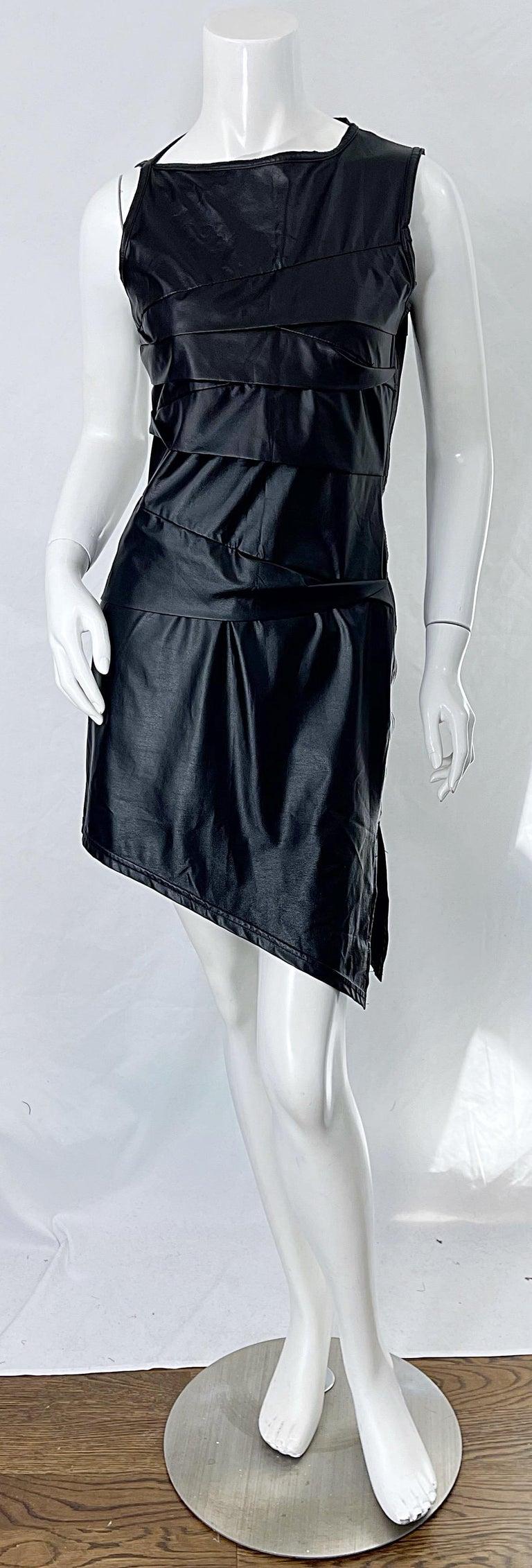 1990s Dexter Wong Club Kid Rave Japanese Black Pleather Vintage 90s Mini Dress For Sale 10