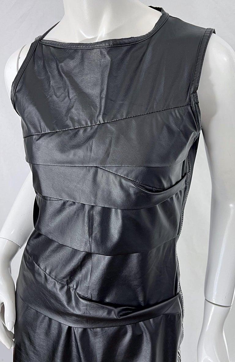 Women's 1990s Dexter Wong Club Kid Rave Japanese Black Pleather Vintage 90s Mini Dress For Sale